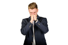 Young businessman in despair Stock Images