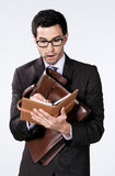 Young businessman with diary Stock Photography