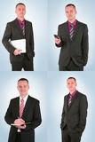 Young businessman in different poses Royalty Free Stock Image