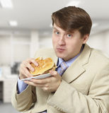 Young businessman is the dinner Royalty Free Stock Image