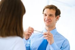 Young businessman doing interviews Royalty Free Stock Photography