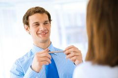 Young businessman doing interviews Stock Images