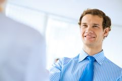 Young businessman doing interviews Royalty Free Stock Photo