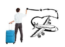 Businessman drawing airplane Royalty Free Stock Images