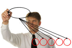 The young businessman drawing on the screen Royalty Free Stock Photo