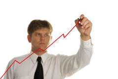 The young businessman drawing on the screen Royalty Free Stock Photography