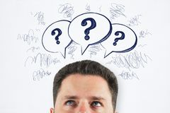 Brainstorm and confusion concept stock images