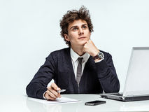 Young Businessman dream about his earnings Royalty Free Stock Image