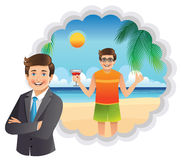 A young businessman dreams of a vacation at the beach Royalty Free Stock Photo