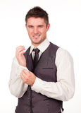 Young Businessman Dressing Stock Images