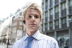 Young Businessman Earphone Royalty Free Stock Images