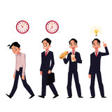 Young businessman, employee in various business situations, career concept Stock Photography