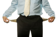 The young businessman with empty pockets Royalty Free Stock Photos