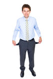Young businessman with empty pockets, concept Royalty Free Stock Photos