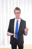 Young businessman enjoying a success Royalty Free Stock Photography