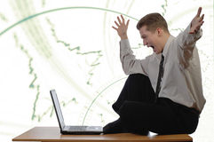 Young businessman enraptured Stock Image