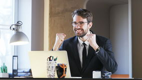 Young Businessman Excited During Work