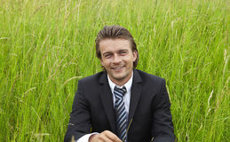 Young businessman in the fields royalty free stock image