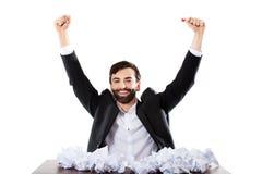 Young businessman finally found and idea. Stock Photos