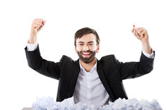 Young businessman finally found and idea. Stock Photography
