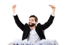 Young businessman finally found and idea. Royalty Free Stock Photos