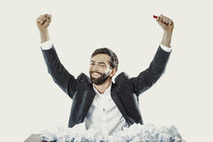 Young businessman finally found and idea. Young successful businessman found an idea Stock Image