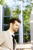 Young businessman in financial district Royalty Free Stock Image