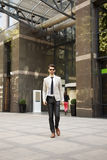 Young businessman in financial district Royalty Free Stock Photo