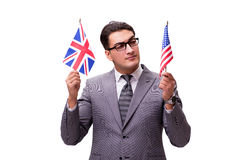 The young businessman with flag isolated on white Royalty Free Stock Image