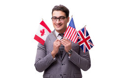 The young businessman with flag isolated on white Stock Photos