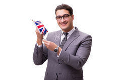 The young businessman with flag isolated on white Royalty Free Stock Images