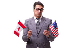 The young businessman with flag isolated on white Royalty Free Stock Photography