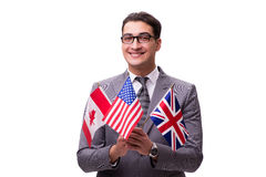 The young businessman with flag isolated on white Royalty Free Stock Photos
