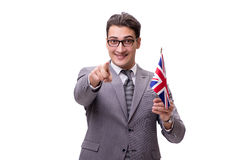 The young businessman with flag isolated on white Stock Images