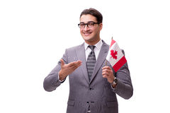 The young businessman with flag isolated on white Stock Photo