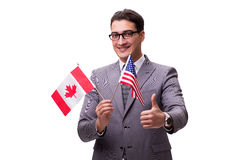 The young businessman with flag isolated on white Stock Photography
