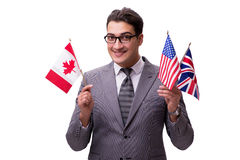 The young businessman with flag isolated on white Royalty Free Stock Photo