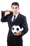 Young businessman with football Stock Image