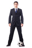 Young businessman with football Royalty Free Stock Photo