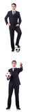 The young businessman with football on white Royalty Free Stock Image
