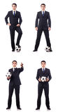 The young businessman with football on white Royalty Free Stock Photo