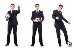 The young businessman with football on white Stock Images