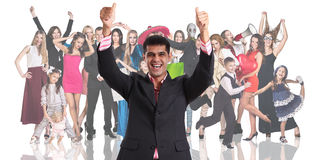 Young businessman foreground with the people crowd Royalty Free Stock Photos