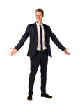 Young businessman full length portrait. Approachable young business man with open arms isolated Stock Photo