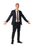 Young businessman full length portrait. Approachable young business man with open arms isolated Royalty Free Stock Photo