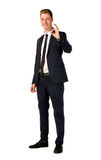 Young businessman full length portrait. Young business man showing ok sign isolated Stock Photos