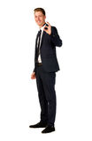 Young businessman full length portrait. Young business man showing ok sign isolated Royalty Free Stock Photo