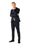 Young businessman full length portrait. Young business man thinking full length portrait Stock Image
