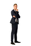 Young businessman full length portrait. Young business man thinking full length portrait Stock Photography