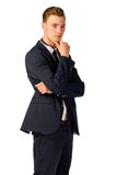 Young businessman full length portrait. Young business man thinking portrait isolated Stock Photography